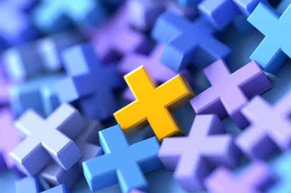 Colored plus symbols digital background, 3d rendering